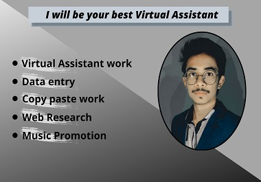 I will be your best Virtual Assistant for many kind of tasks