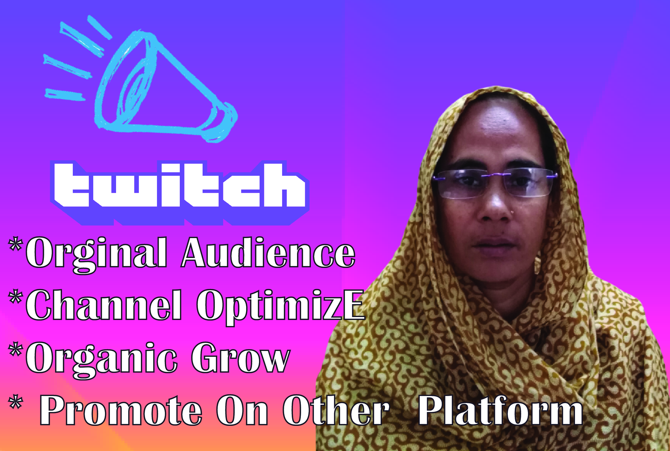 I will promote twitch account and steam to increase regular audience