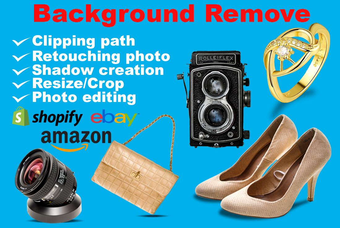 I will do shopify,  ebay,  amazon product photo background removal 2 image