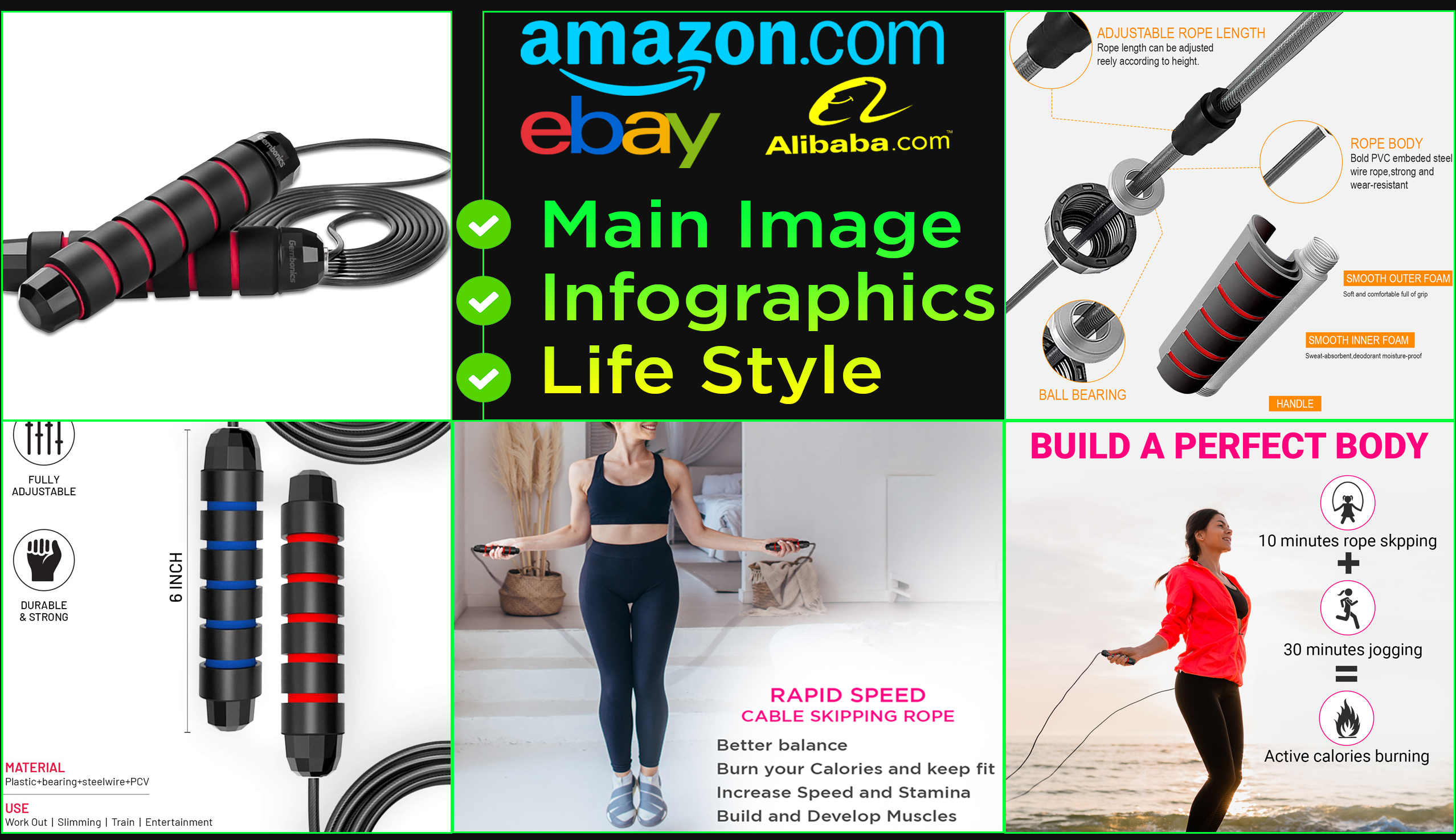 I will do amazon product photography editing listing infographic