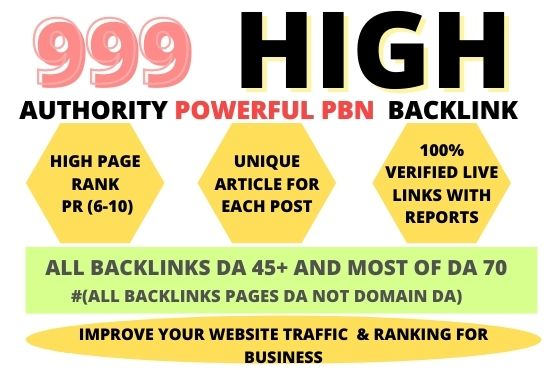 999+ Permanent PBN Backlinks Web2.0 with High TF/CF/DA 70 Do-follow Links Homepage Unique webs