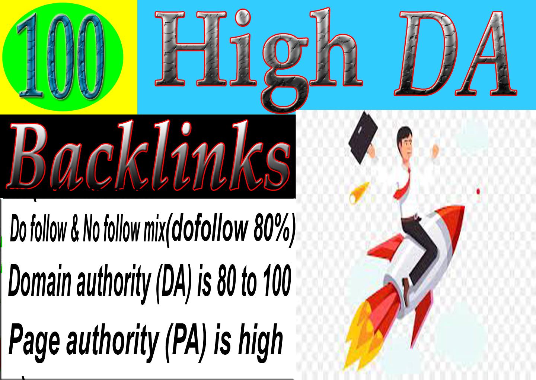 I will do 100 high DA backlinks for rank your website