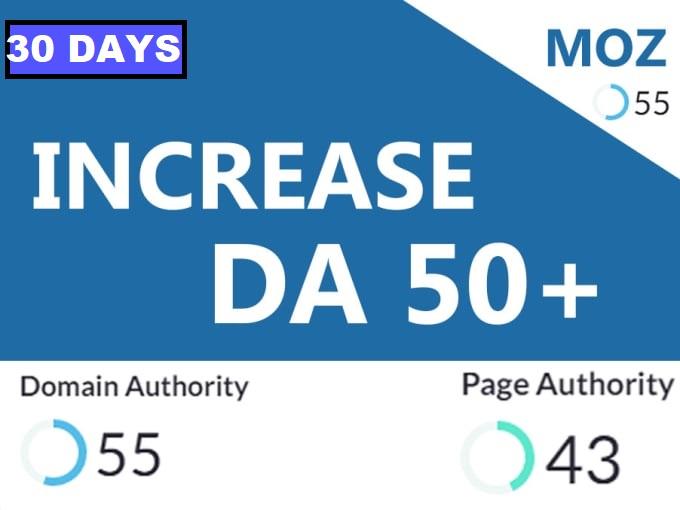 I will increase domain authority moz da 50 plus Guaranteed