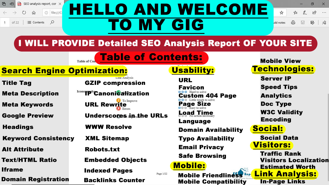 I will provide expert SEO report,  competitor website audit,  analysis