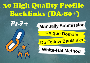 I will Create 30 High Quality manually Profile Creations Backlinks
