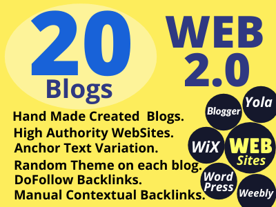 I will create manually 20 Dofollow High Authority Web 2.0 Backlinks