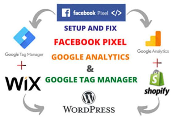 I will setup fix google analytics,  tag manager,  facebook pixel