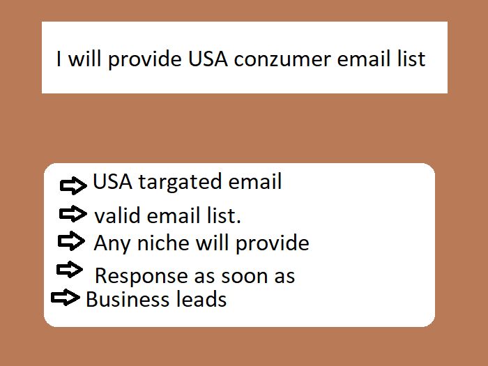 I will provide 10000 usa based conzumer email list