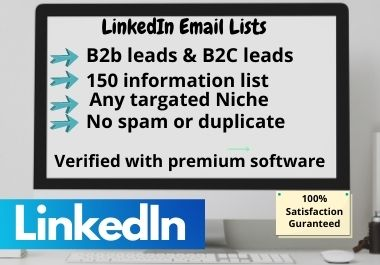LinkedIn lead generation with company details b2b,  b2c emails with well web researched.