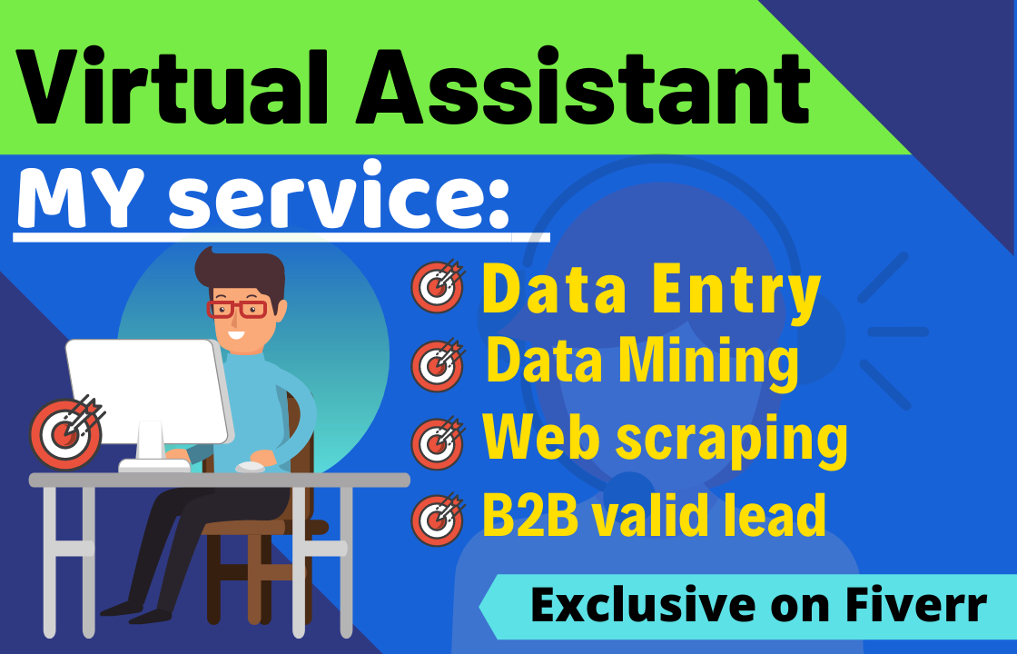 I will be your virtual assistant for Data entry,  Data mining copy past and web research