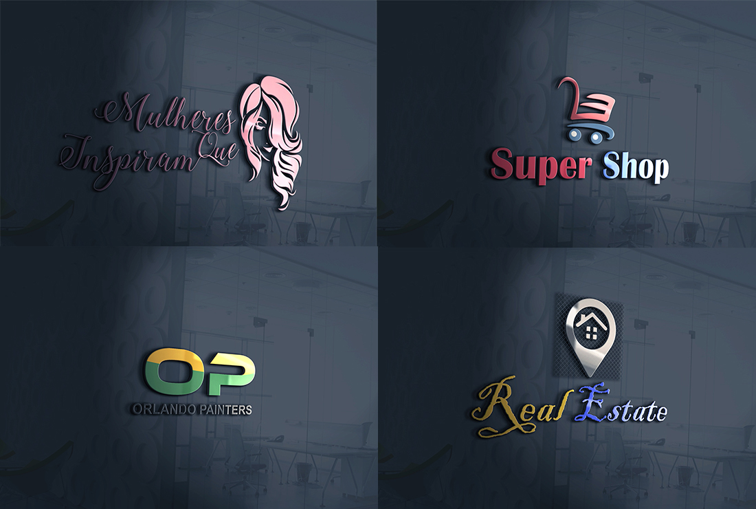 Turn Your Logos into 3D mockups On Wood, Leather or 3D glass office Wall background