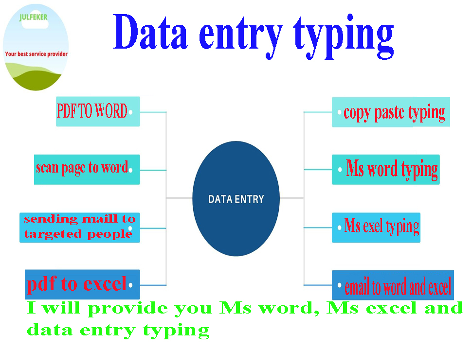 I will do any type of data entry work,  Ms word,  Ms excel,  Typing