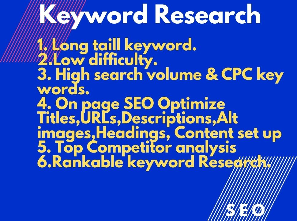 I will do 20 best keyword research and on page SEO content setting