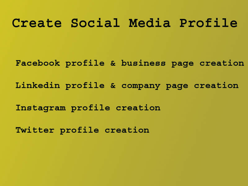 Social media account and business page create