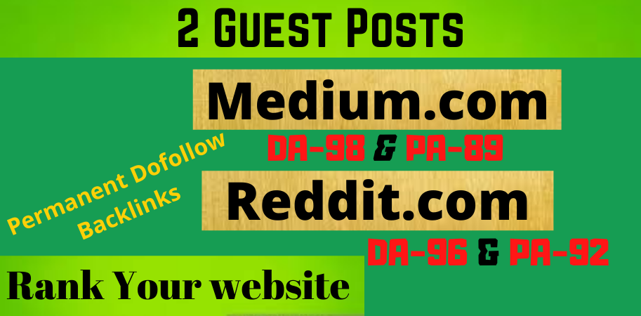 I will write and Publish 2 Guest Post on Medium & Reddit High TF- CF