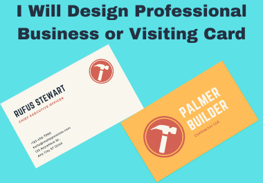 I Will Design Unique Professional Business or Visiting Card