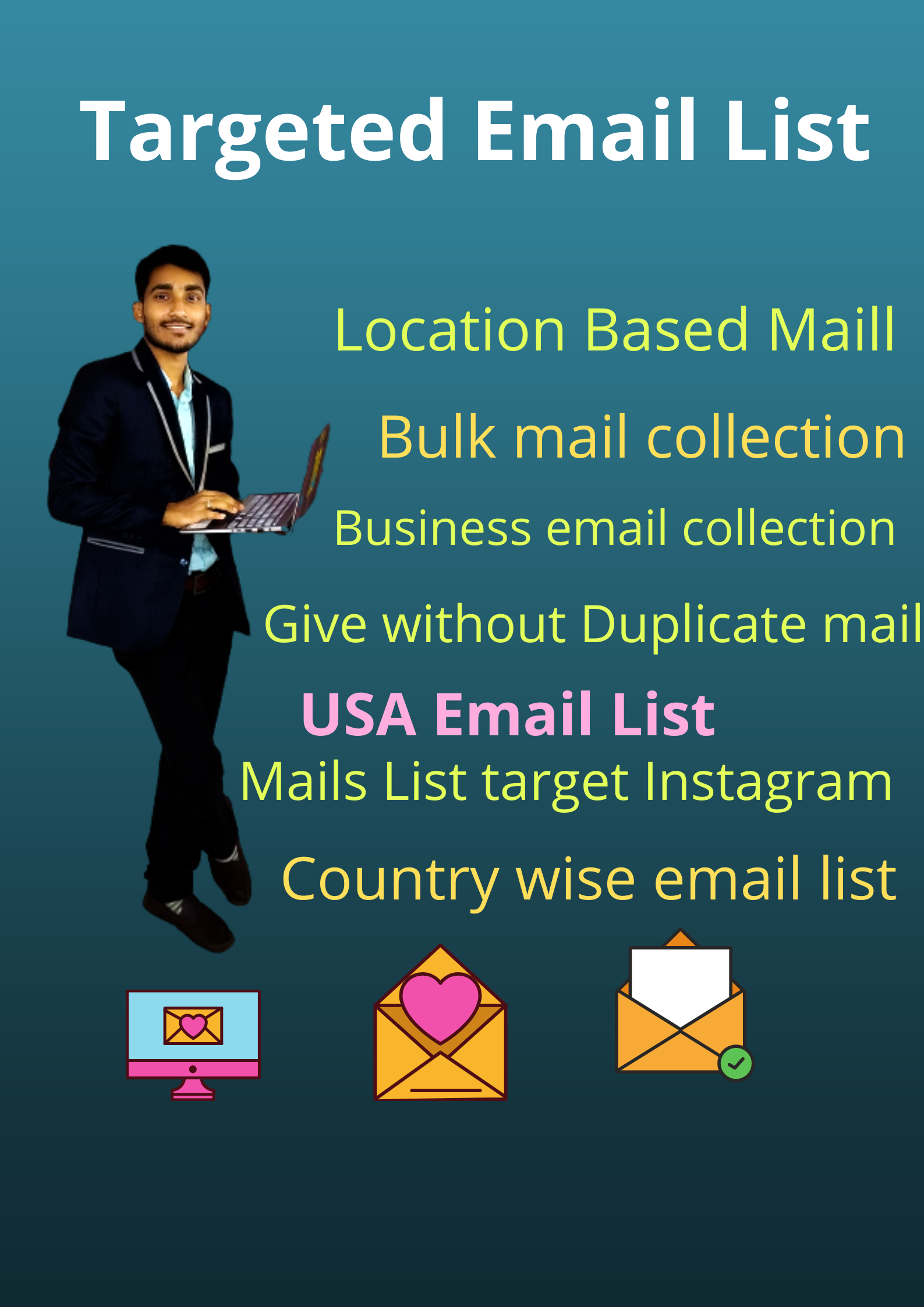 I will provide you niche targeted mail list for email marketing