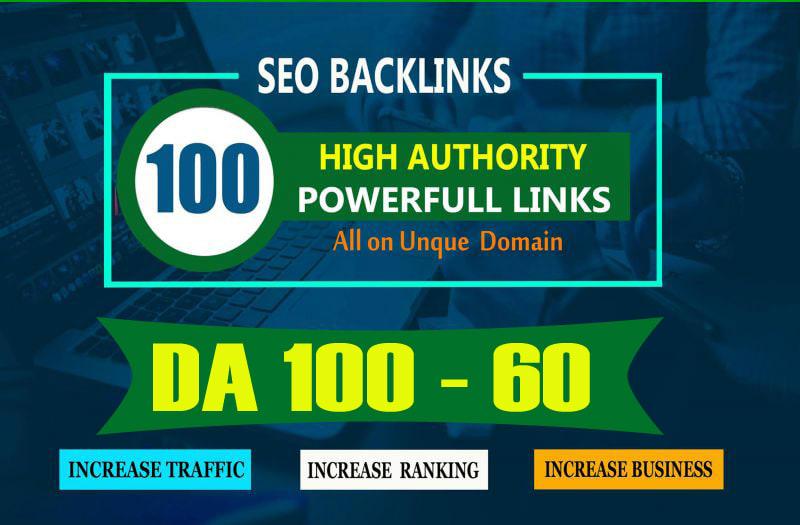 build 100 unique domain SEO backlinks on tf100 da100 sites