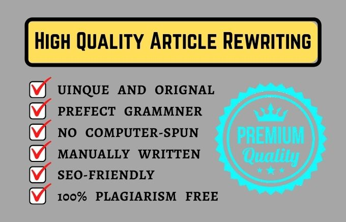 I will manually rewrite SEO article plagiarism free assignment, rewrite content