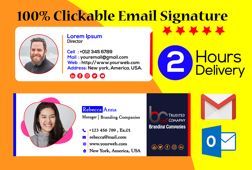 I will create clickable html email signature within 2hrs