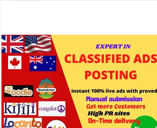 post your ad in 30 top classified ad posting sites in USA,  UK backlinks