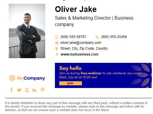 design HTML email signature,  clickable email signature