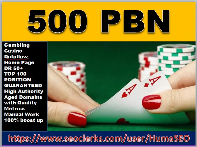 Offering BIG BANG 500 PBN links Casino from DR 50+ sites