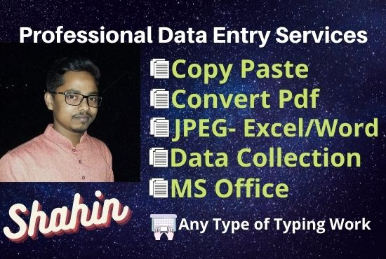Hire me for Online/Offline Data Entry
