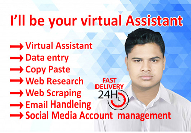 I will be your virtual assistant for any kind of work