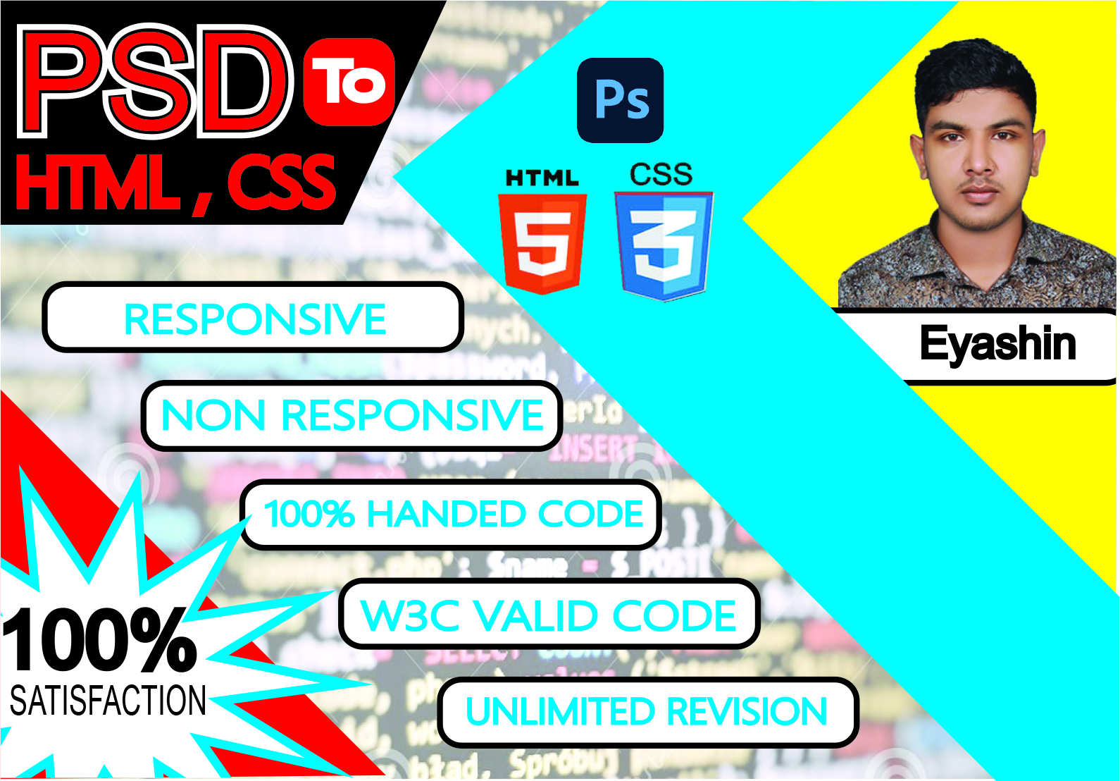I will make or convert PSD to HTML & CSS with Responsive