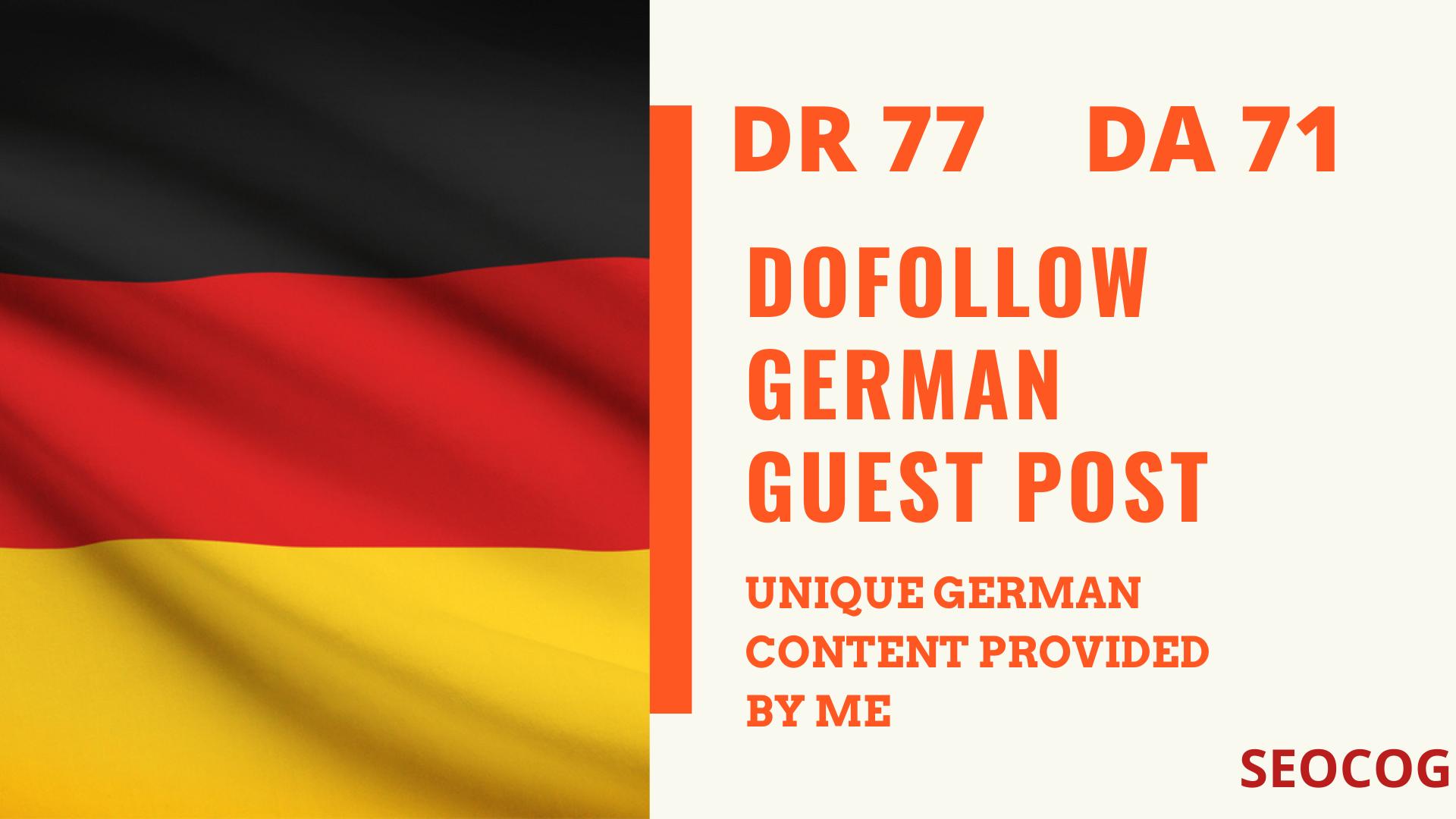 publish one high DR 77 german guest post blog link backlink