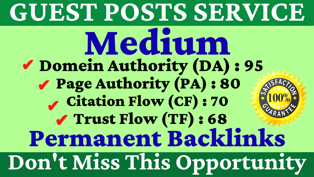 I Will Write With It Publish A Guest Post On Medium DA 95,  PA 80 With Google Indexing Free