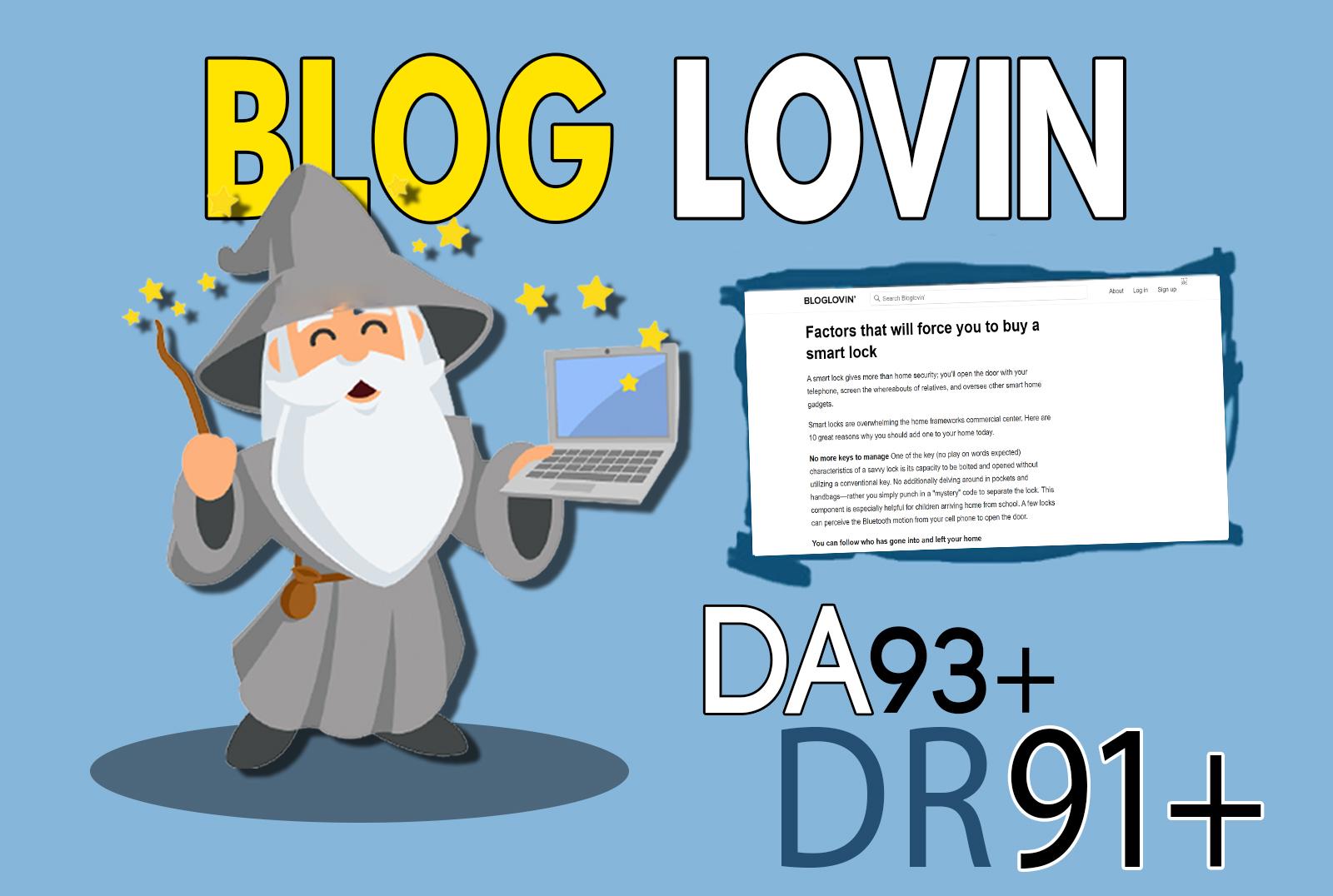 publish your article on bloglovin.com da 93 dofollow backlink