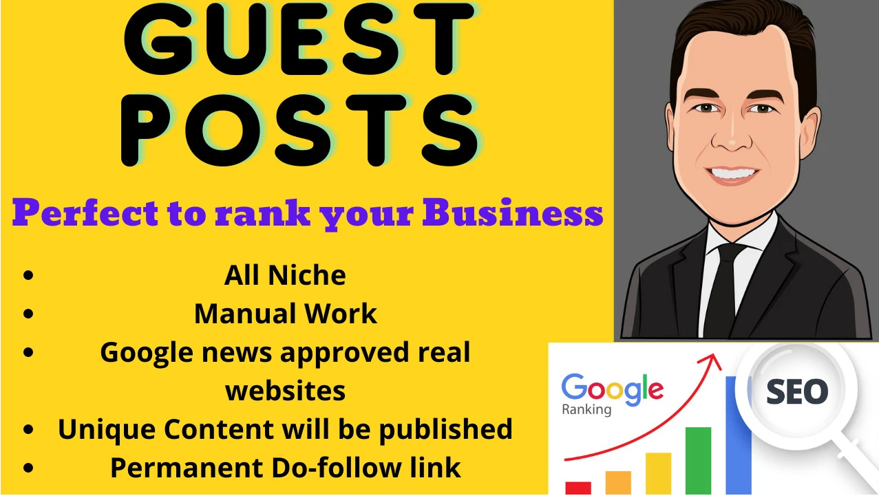 Do DA 60+ guest posting on High DA website with Do-follow Backlinks with unique articles