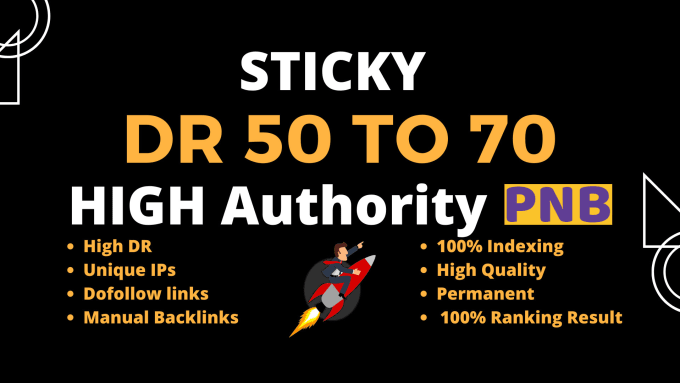 Make DR 50 to 70 high quality dofollow backlinks for seo