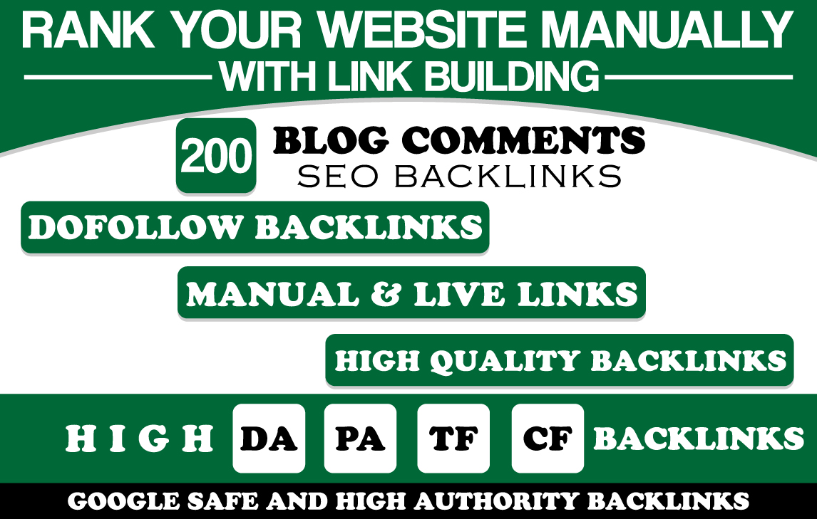 I will Build Manually 200 Blog Comment SEO Backlinks High DA PA