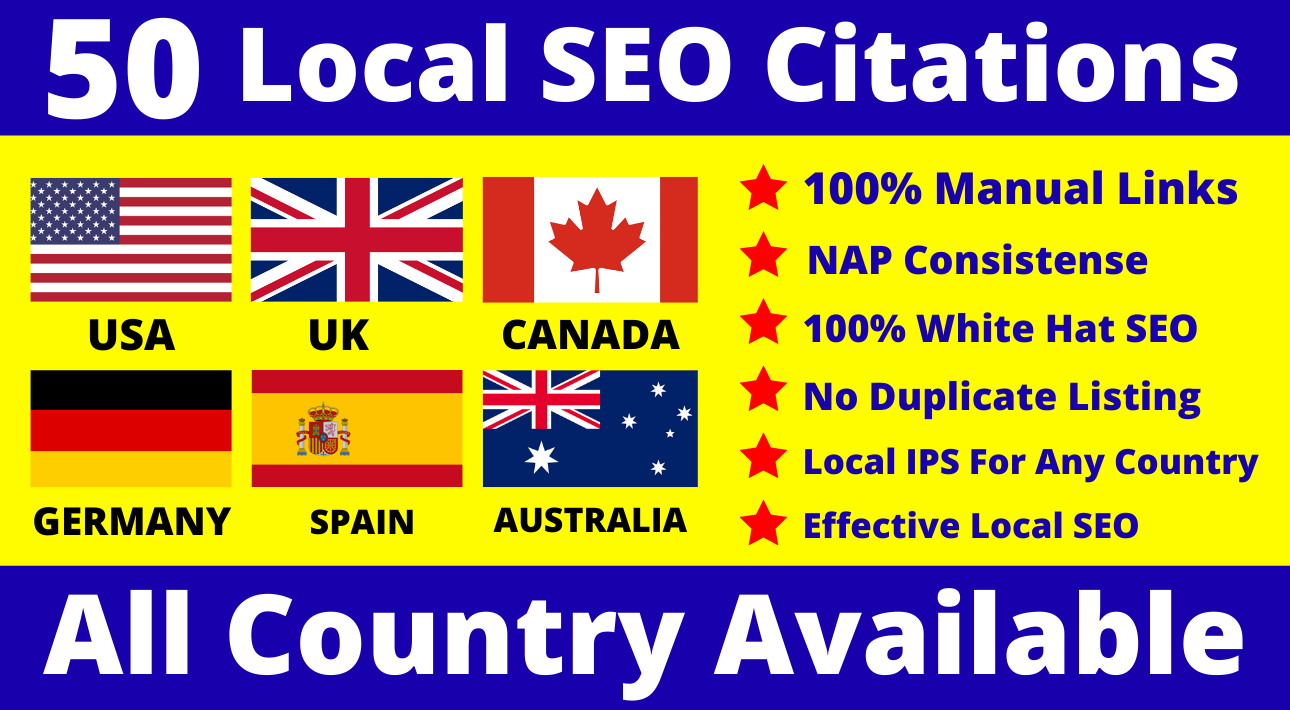 I will Do Manually TOP 50 Live USA UK Canada Australia & Any Country Local SEO Citations