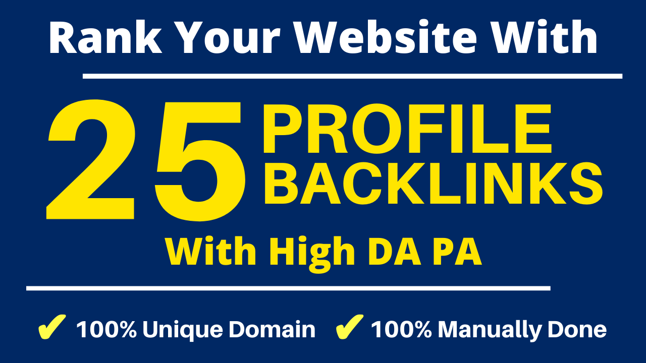 Manually DA 80+ All PR9 25 Safe High authority Profile Backlinks to Increase Ranking