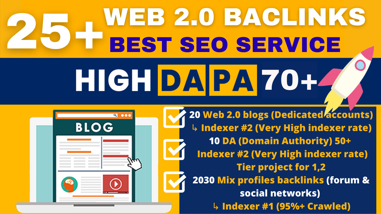 25+ High Domain Authority Web 2 0 Blogs SEO Backlinks Service For Boost Google Ranks