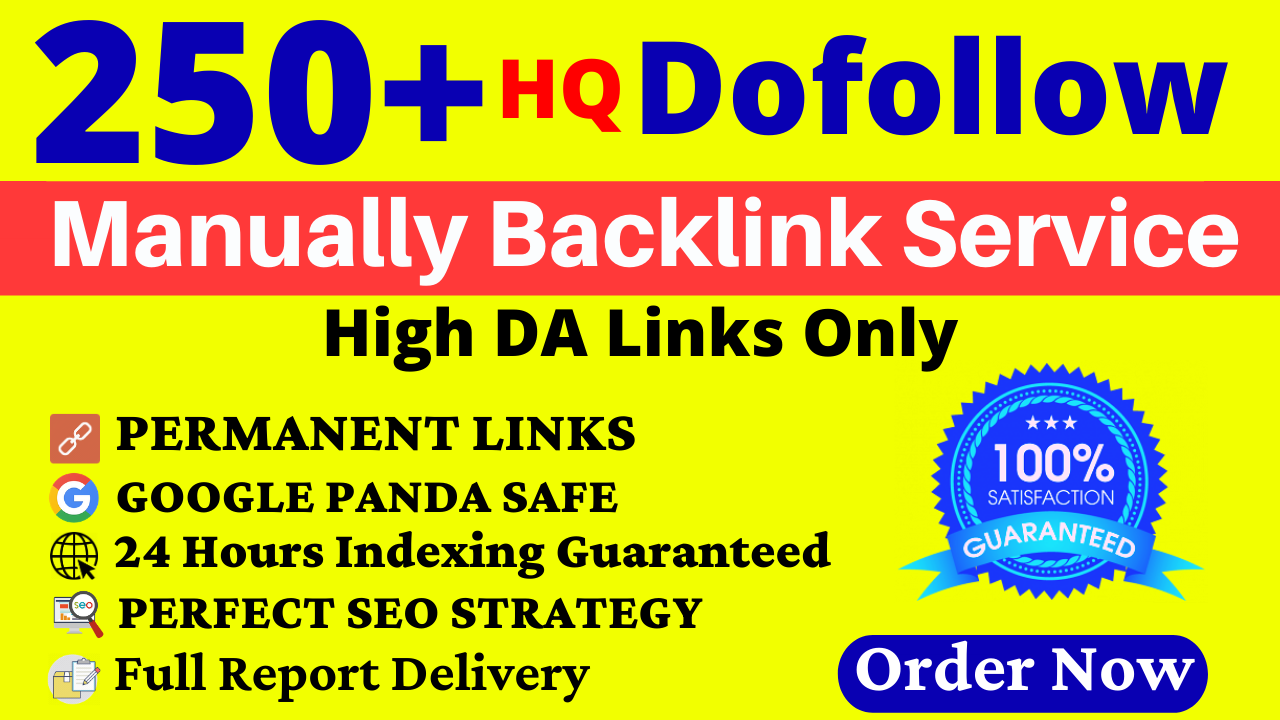 250+ Manual Dofollow Backlinks Web2,  Profile,  Wiki,  Blog Comments,  Bookmark & Link Building Service