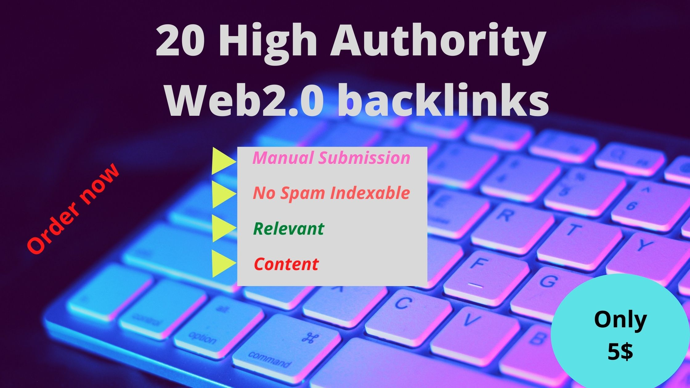 I will provide 20 High Authority Web2.0 Backlinks