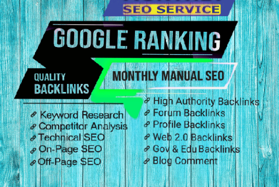 I will do complete monthly SEO service with backlinks for google top ranking