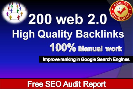 I will create 200 web 2.0 profile backlinks manually