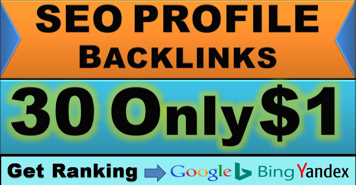 I will create 30 high DA PA do follow SEO Profile backlinks