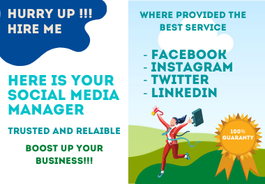 I will be your professional social media manager and content creators to boost up your business.