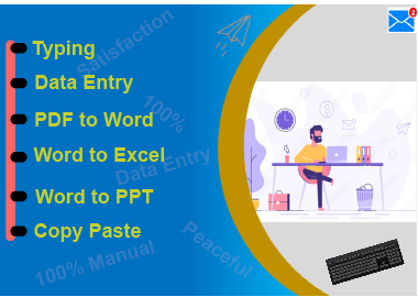 I will manual data entry typing work,  convert PDF to word,  data collection & Copy Paste Tasks