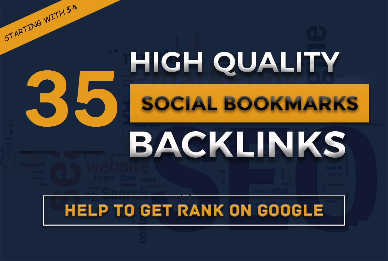 I will do 35 bookmarking seo backlinks unique domains on high da pa