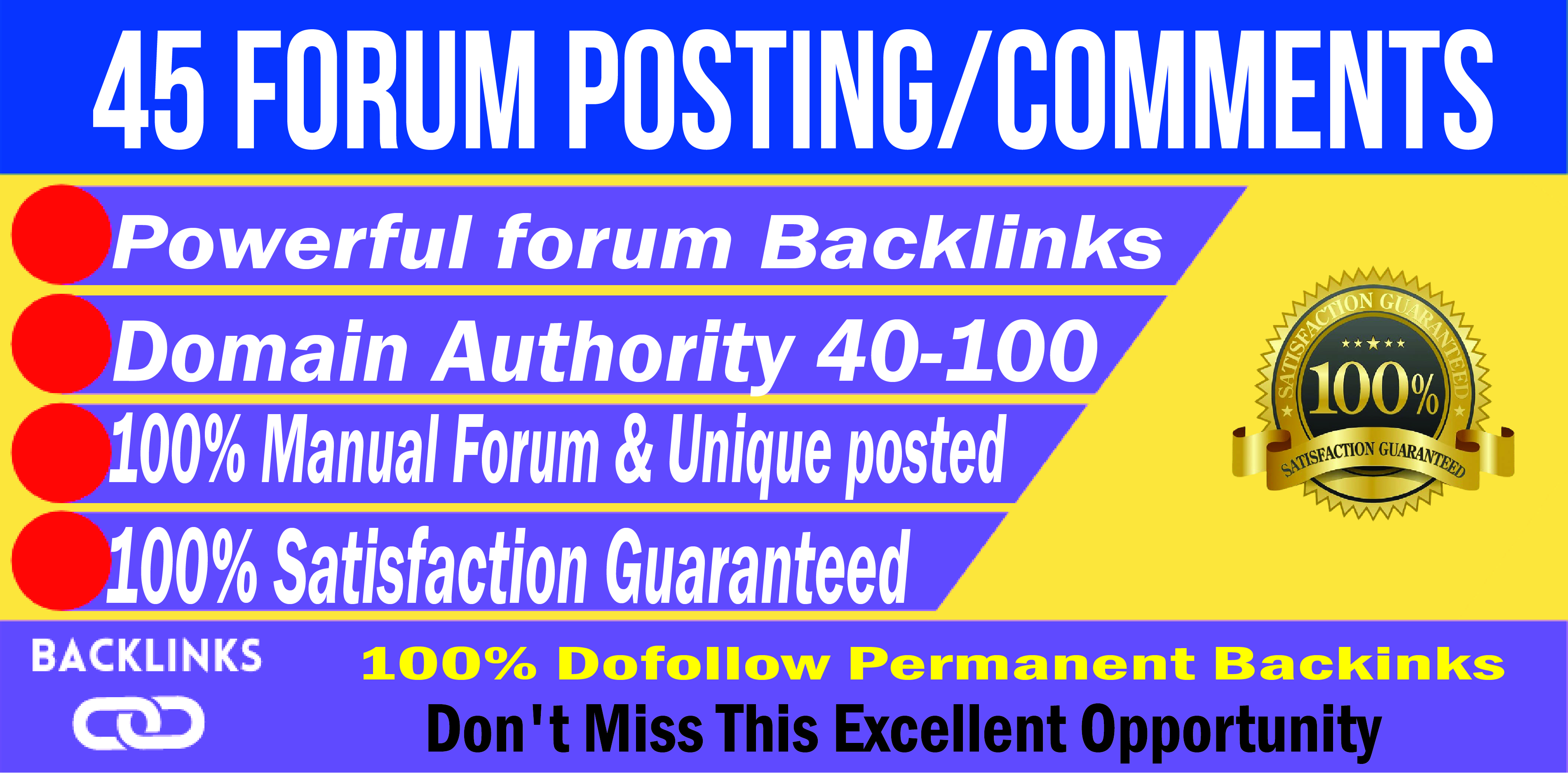 Create Forum Posting Backlinks 45 High Authority Links