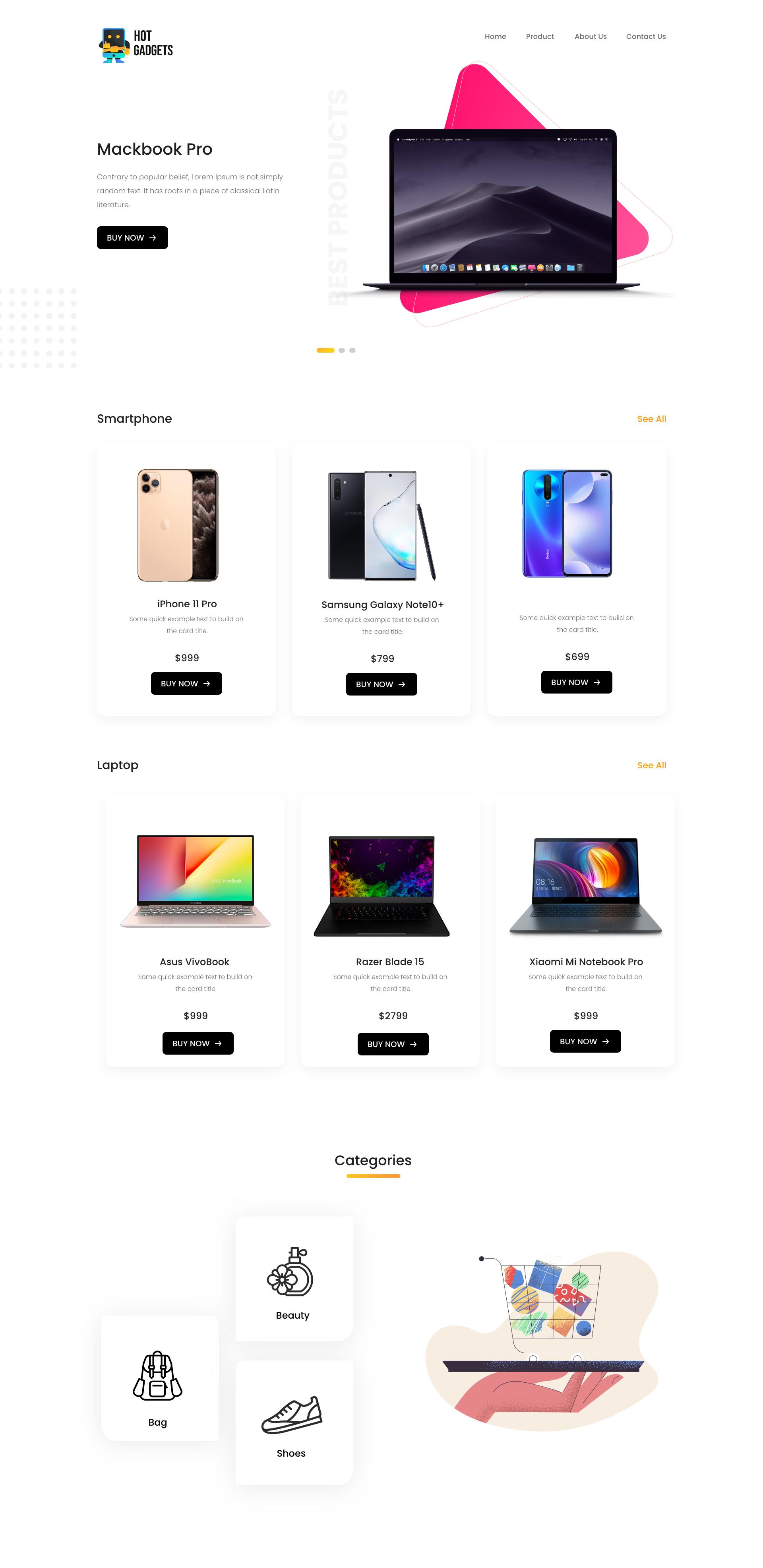 web design, portfolio, landing page, e-commerce, blog website design