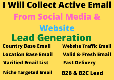 I Will Collect Active Email From Social Media & Web Research.